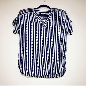 Vtg. 80s Tobria Vertical Stripe Blouse - #1195